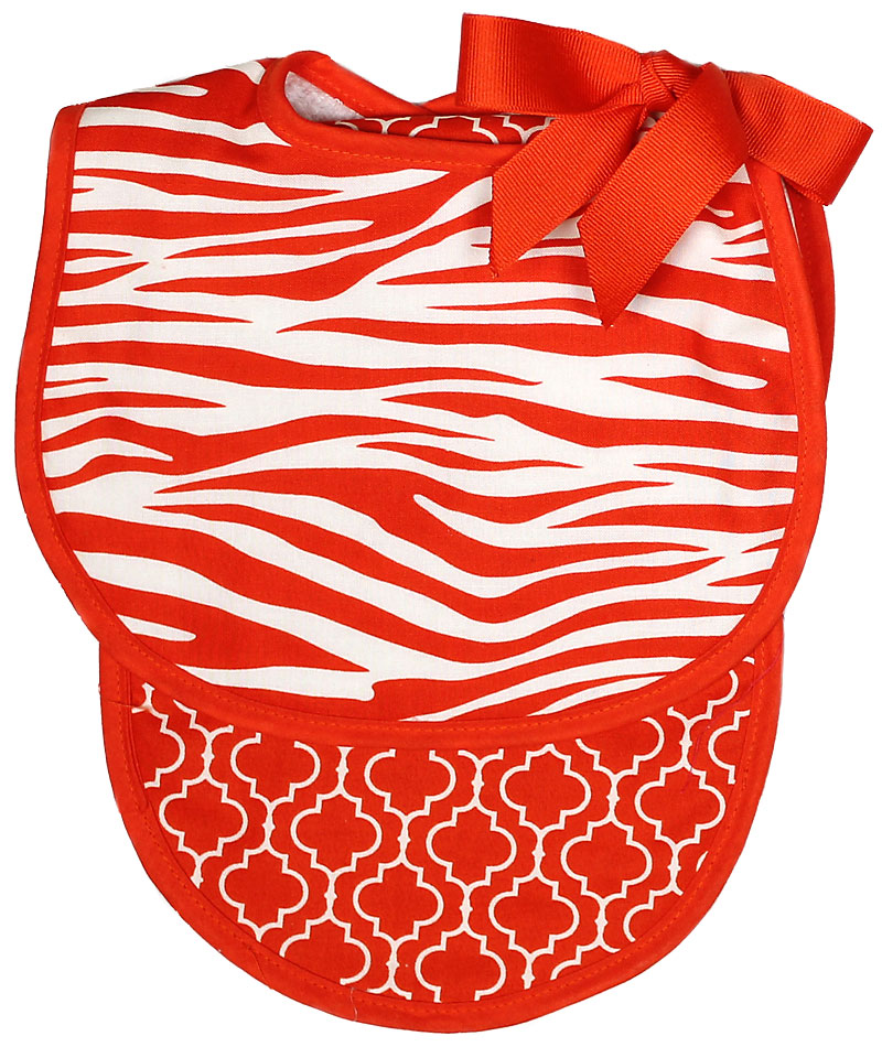 Orange Zebra Bib & Burp Gift Set