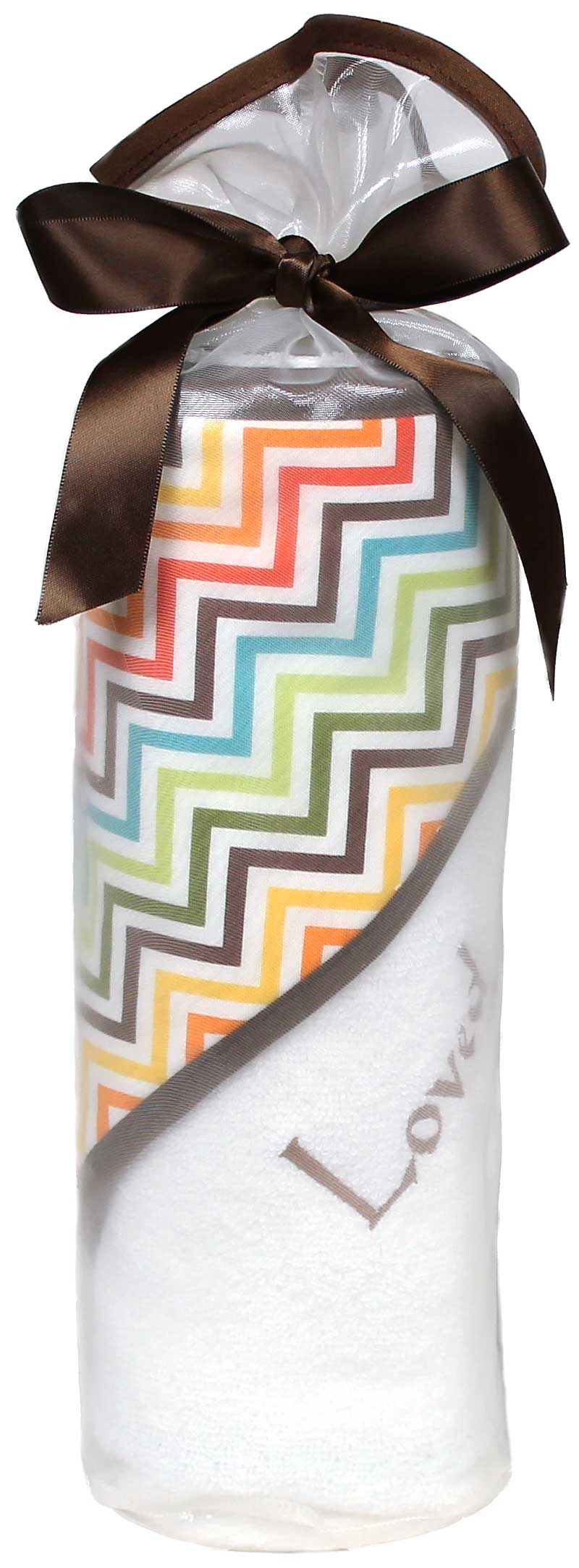 """Loved"" Multi Chevron Towel Boy Gift Set"