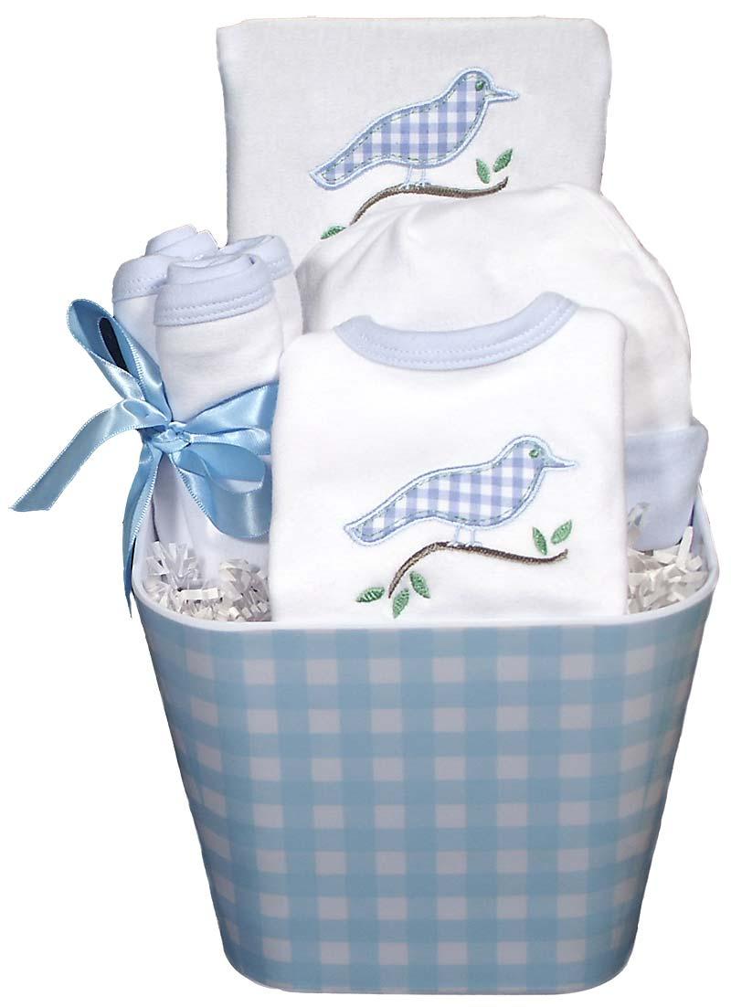 Gingham Bird Accessory Baby Boy Gift Set - Raindrops Baby