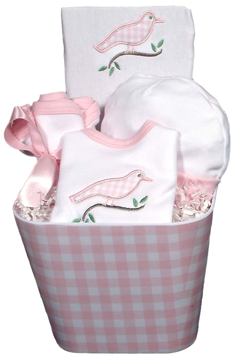 Gingham Bird Baby Accessory Girl Gift Set