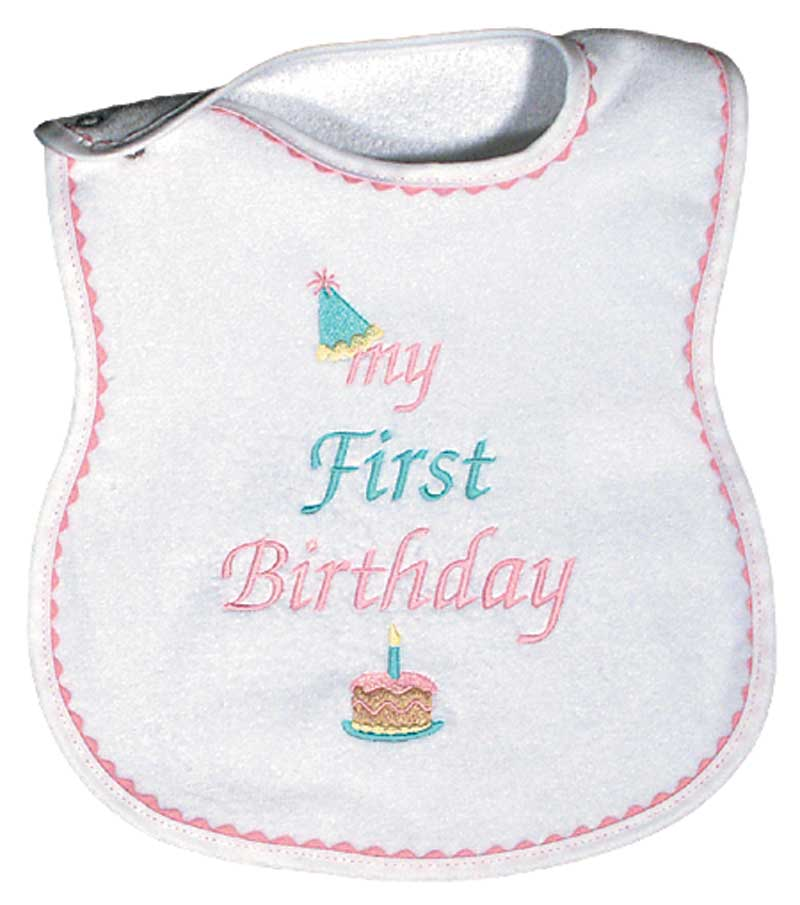 """My First Birthday"" Girl Bib"