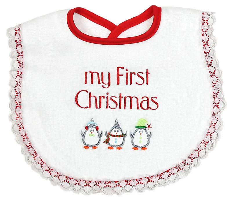 """My First Christmas"" Girl Bib"