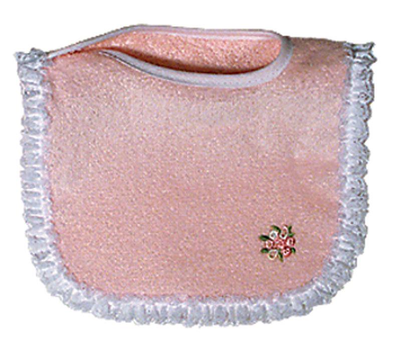 Appliqued Pink Lace Girl Bib
