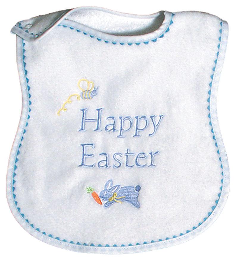 R6235eb Quot Happy Easter Bib Raindrops Baby