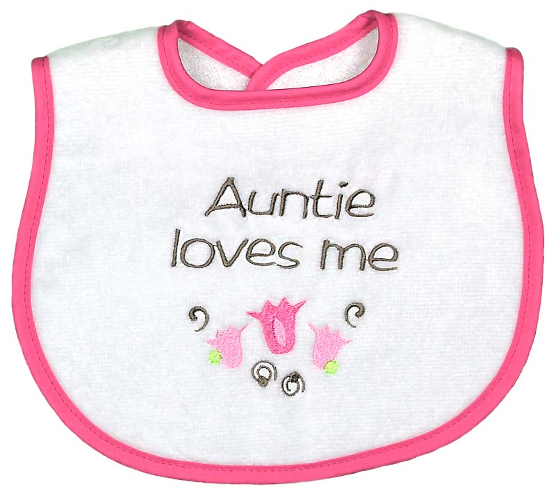 """Auntie Loves Me"" Girl Bib"