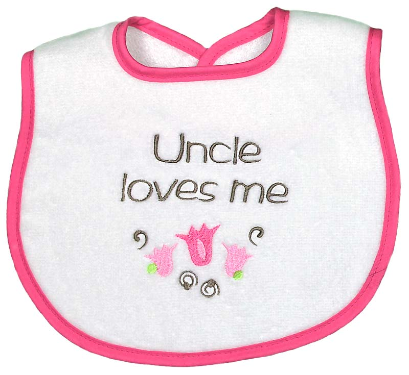 """Uncle Loves Me"" Girl Bib"