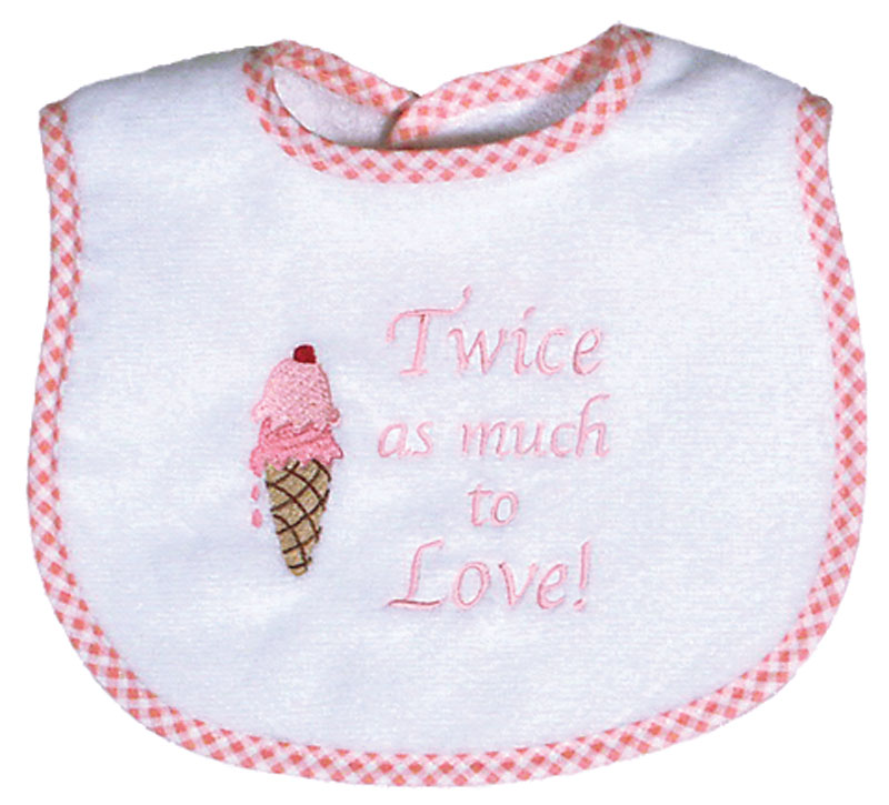 """Twice as Much to Love"" Twin Girl Bib"