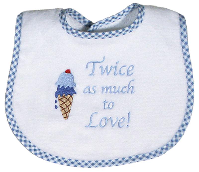 """Twice as Much to Love"" Twin Boy Bib"