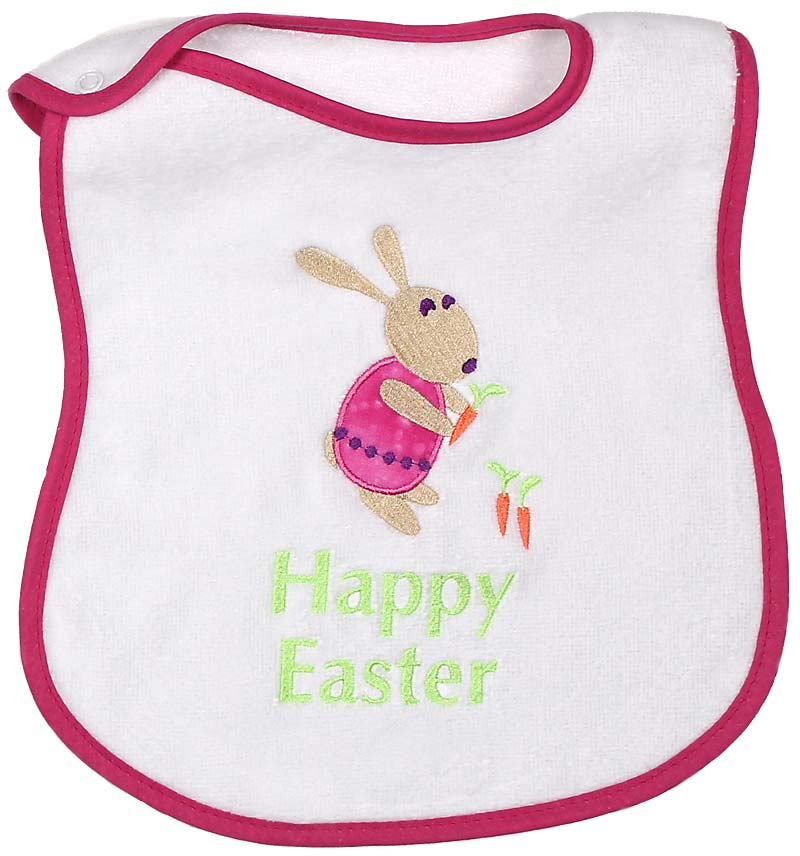 """Happy Easter"" Appliqued Girl Bib"