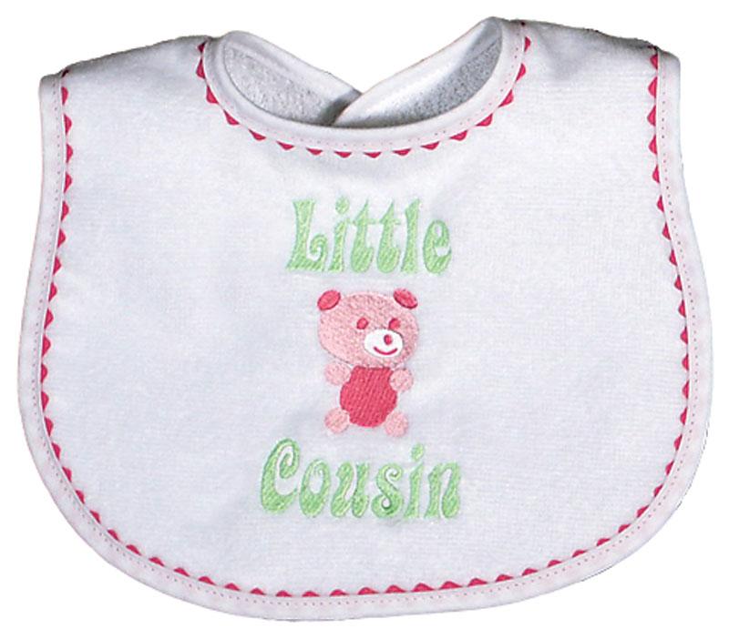 """""""Little Cousin"""" Girl Bib"""