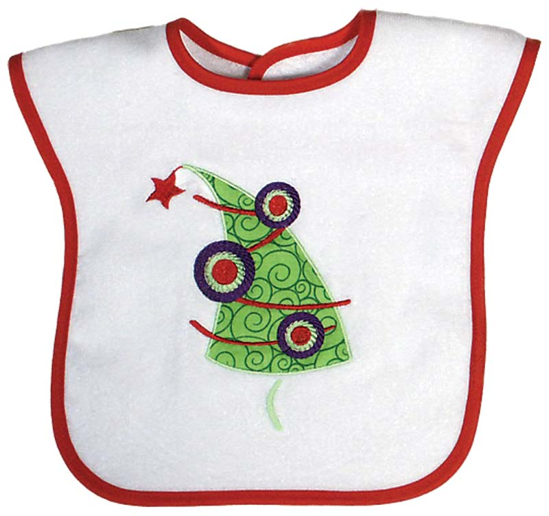 Christmas Tree Appliqued Bib