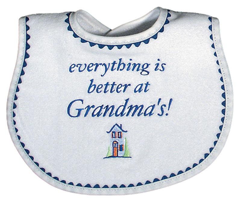 """Everything is Better at Grandma's!"" Boy Bib"