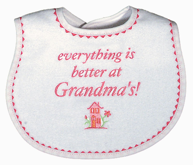 """Everything is Better at Grandma's!"" Girl Bib"
