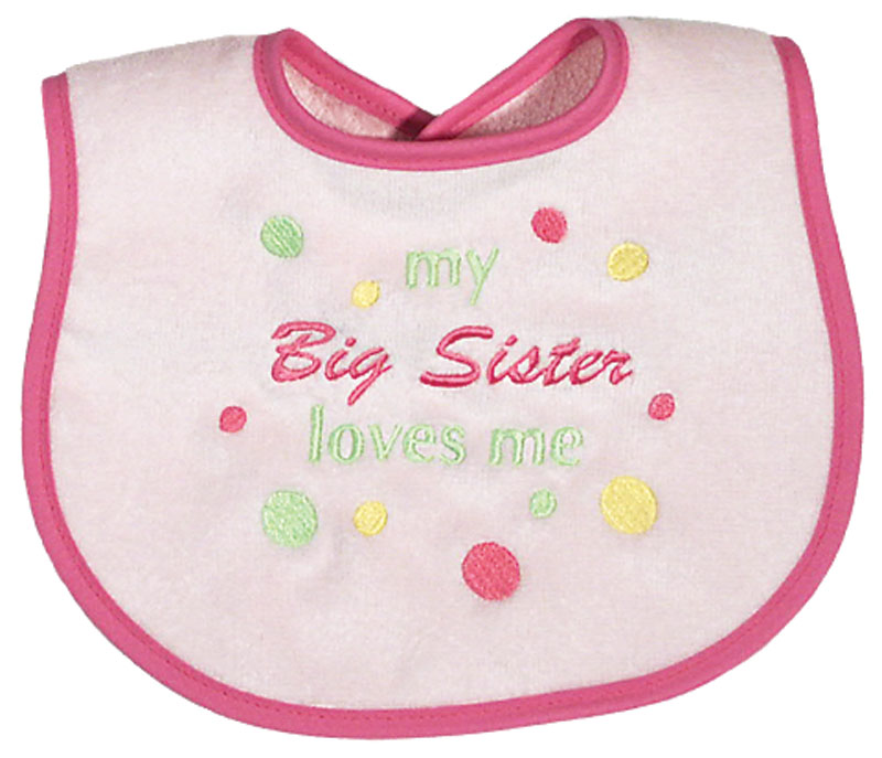 """My Big Sister Loves Me"" Girl Bib"