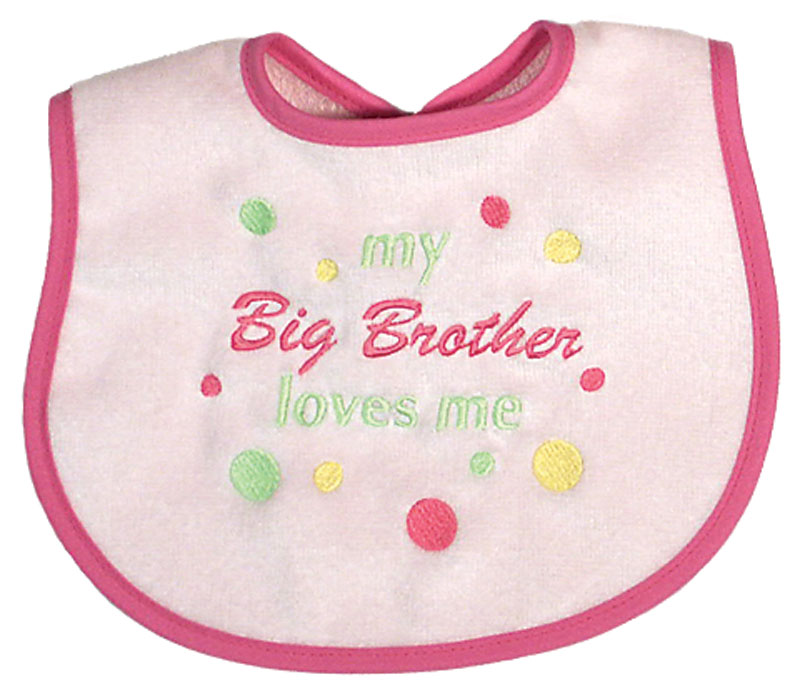 """My Big Brother Loves Me"" Girl Bib"
