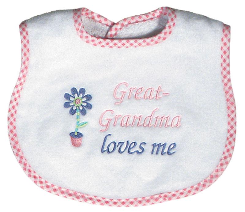 """Great-Grandma Loves Me� Girl Bib"