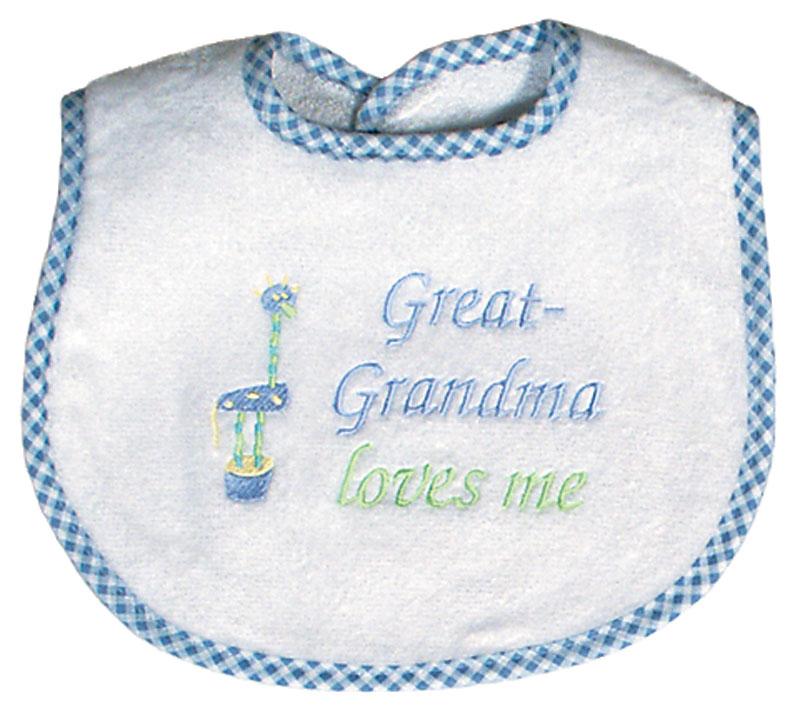 R6737b Great Grandma Loves Me Bib Raindrops Baby