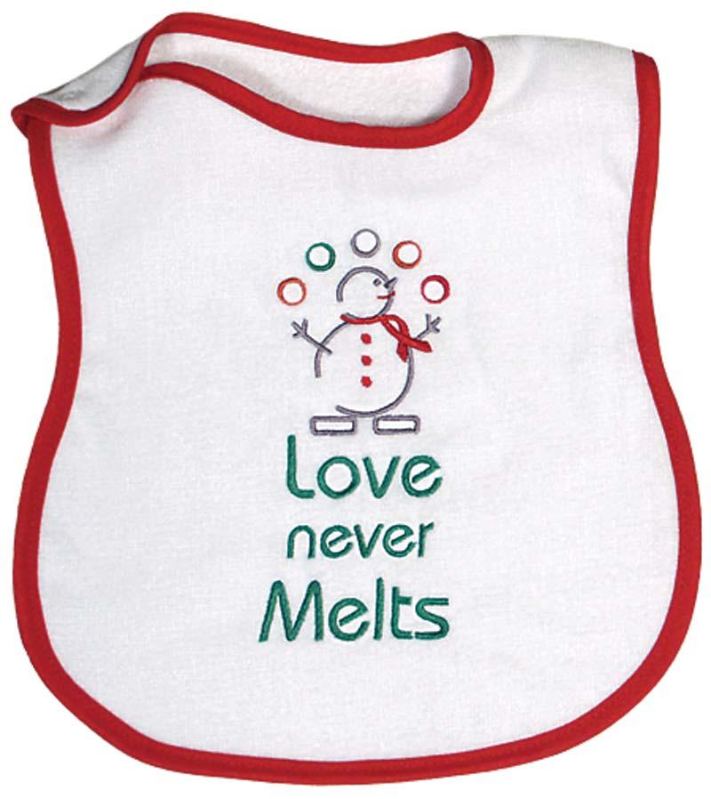 """Love Never Melts"" Bib"