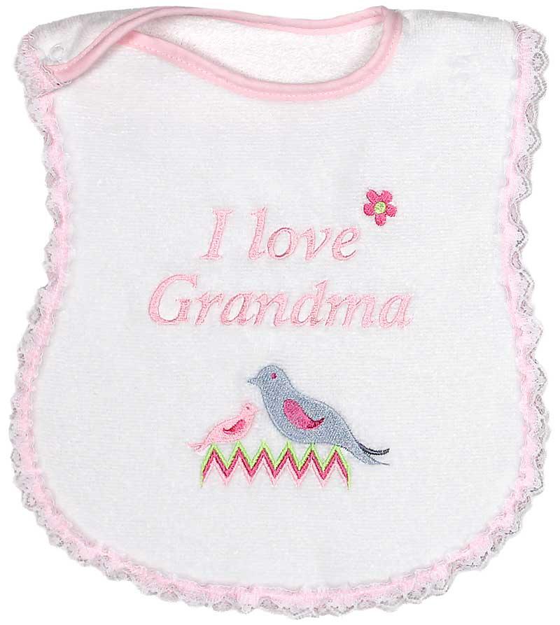 """I Love Grandma"" Girl Bib"