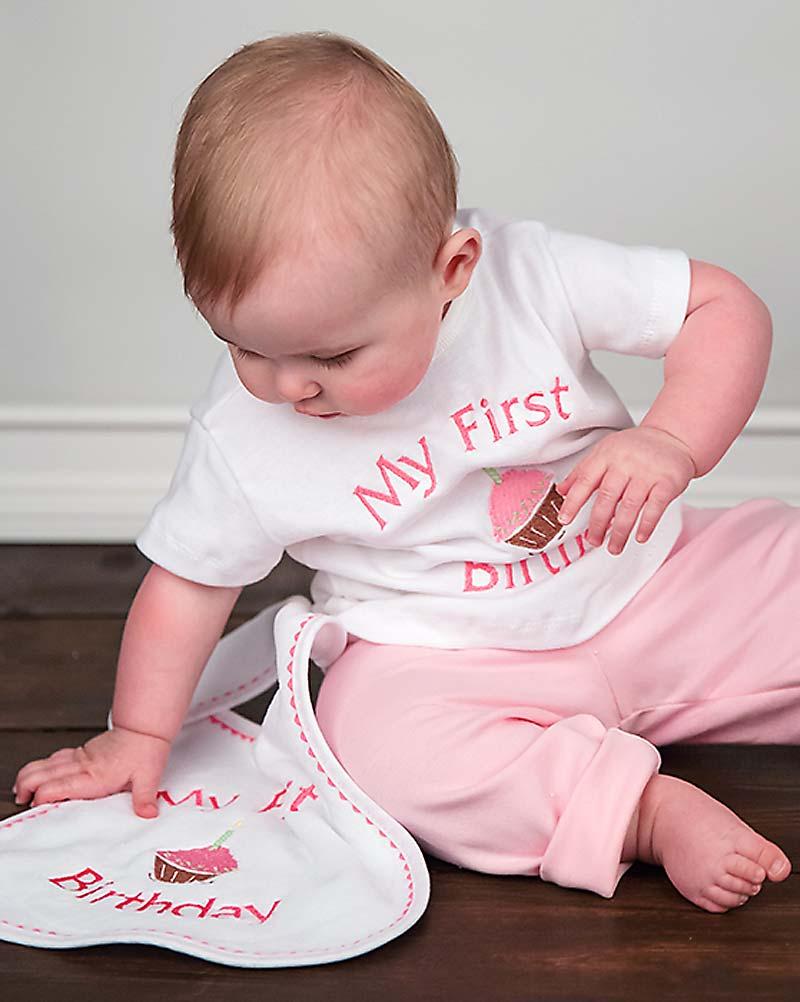 """My First Birthday"" Girl T-Shirt, Strawberry"