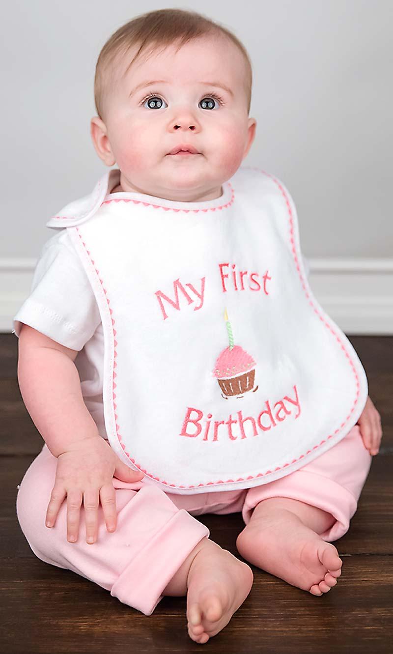 """""""My First Birthday"""" Girl Bib"""