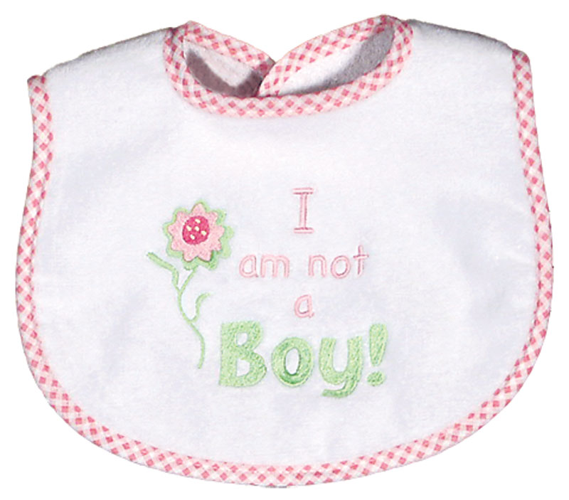 """I am not a Boy"" Girl Bib"