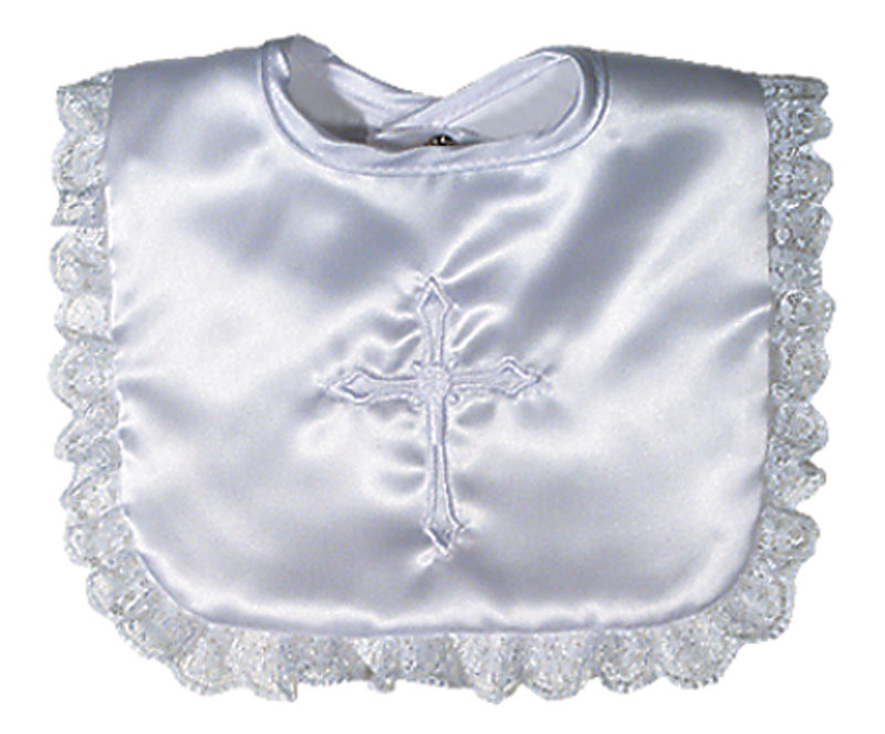 Satin Christening Girl Bib