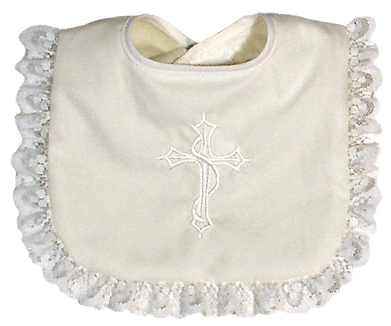 Cotton Christening Girl Bib