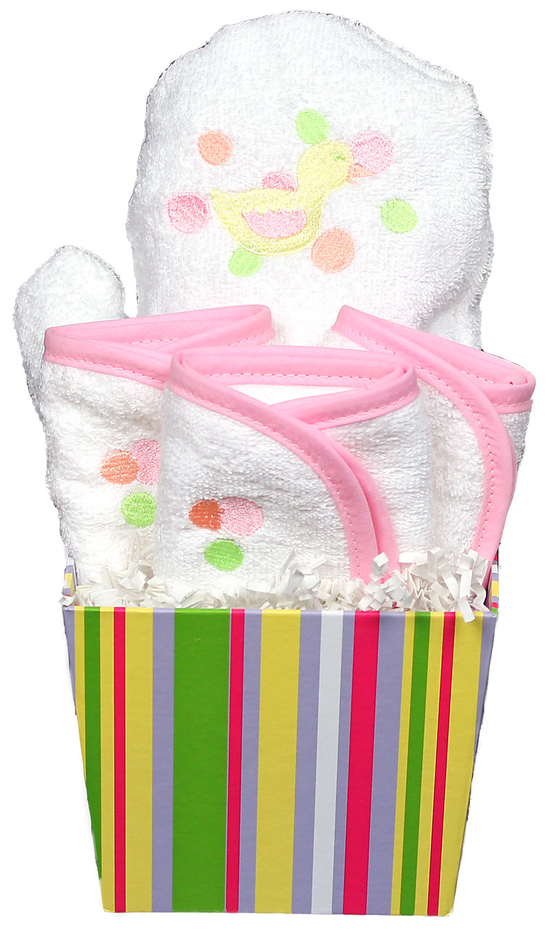 Bubbles n' Stripes Wash Cloth Girl Gift Set