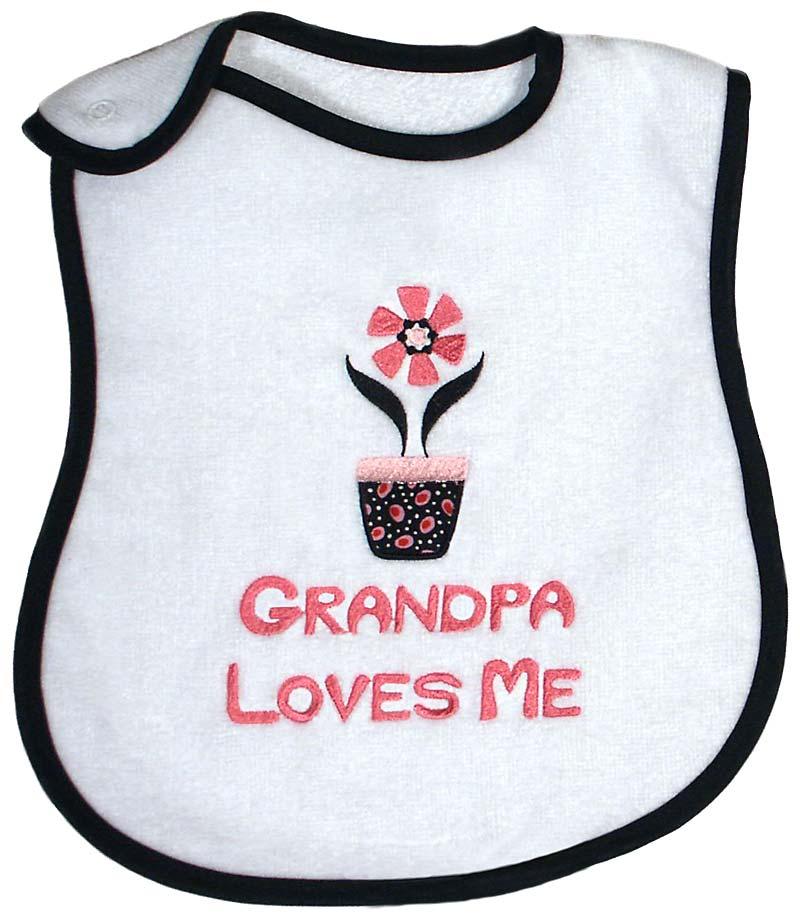 """""""Grandpa Loves Me"""" Girl Bib"""