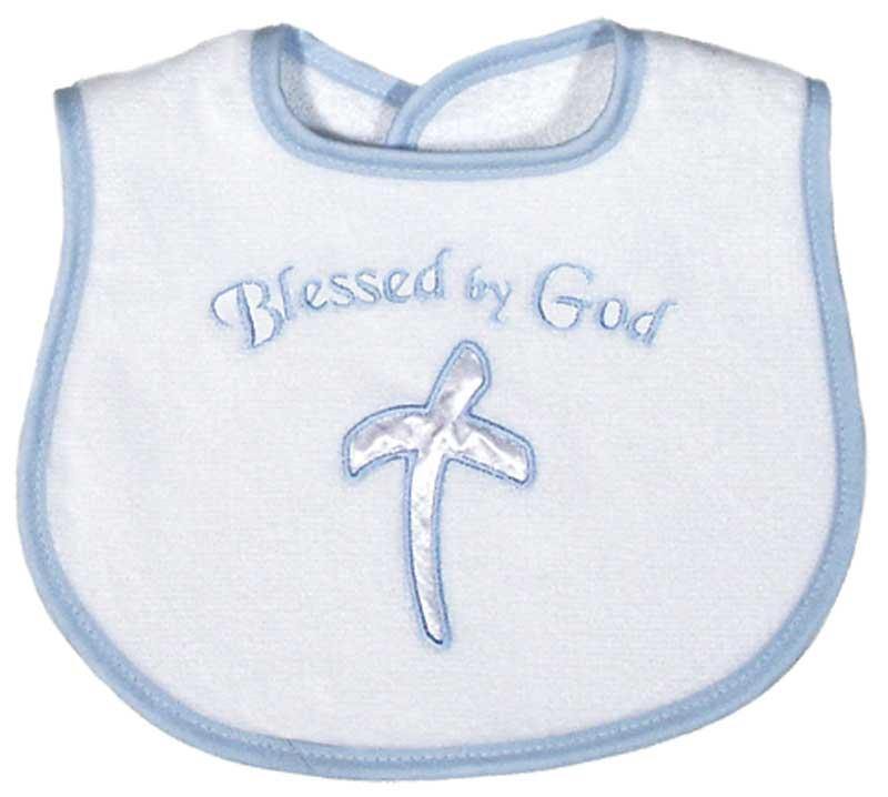 """""""Blessed by God"""" Appliqued Boy Bib"""