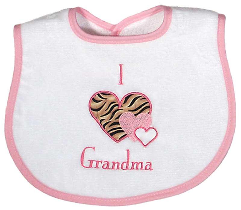 """""""I love Grandma"""" Appliqued Girl Bib"""