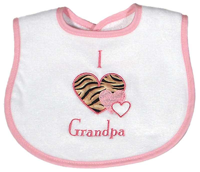 """""""I love Grandpa"""" Appliqued Girl Bib"""