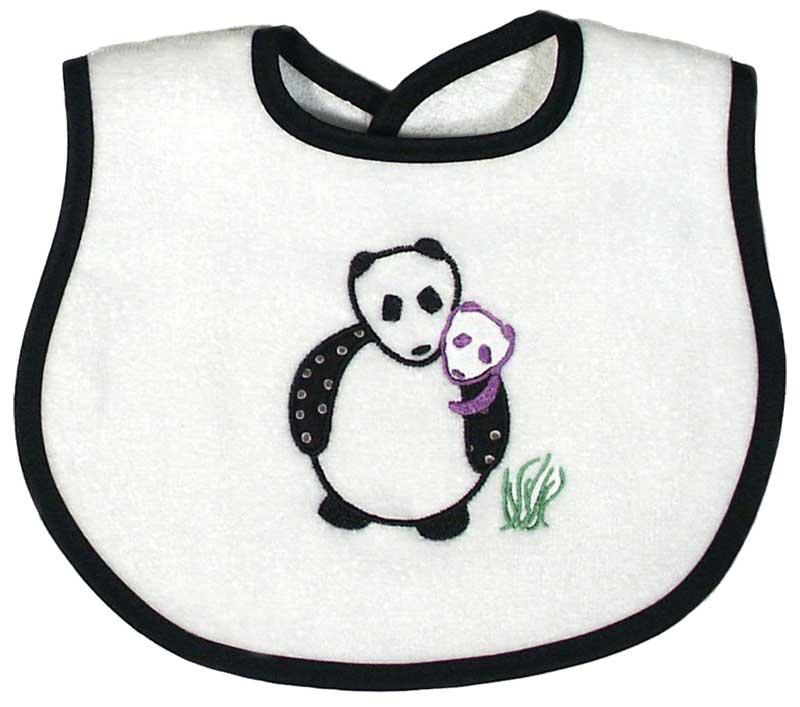 Panda Appliqued Unsex Bib