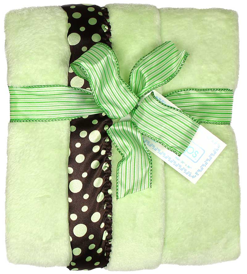 Sage/Brown Dot Flurr Unisex Receiving Blanket