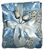 #1702 Blue Faux Fur Receiving Blanket