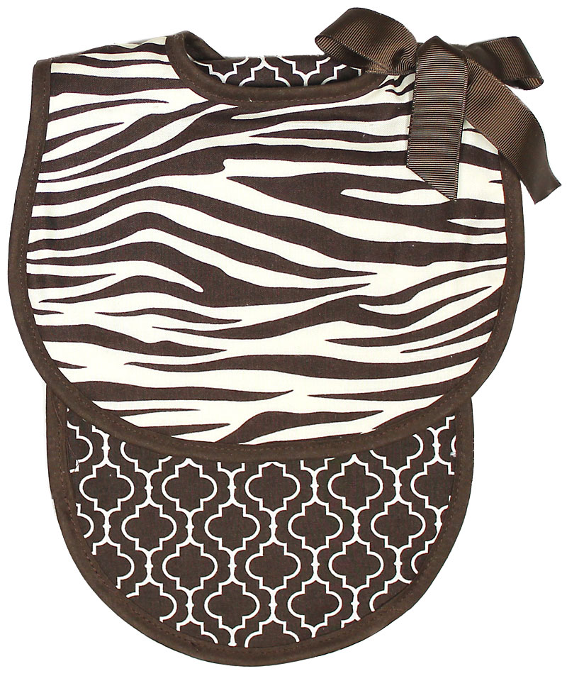 Brown Zebra Bib & Burp Gift Set