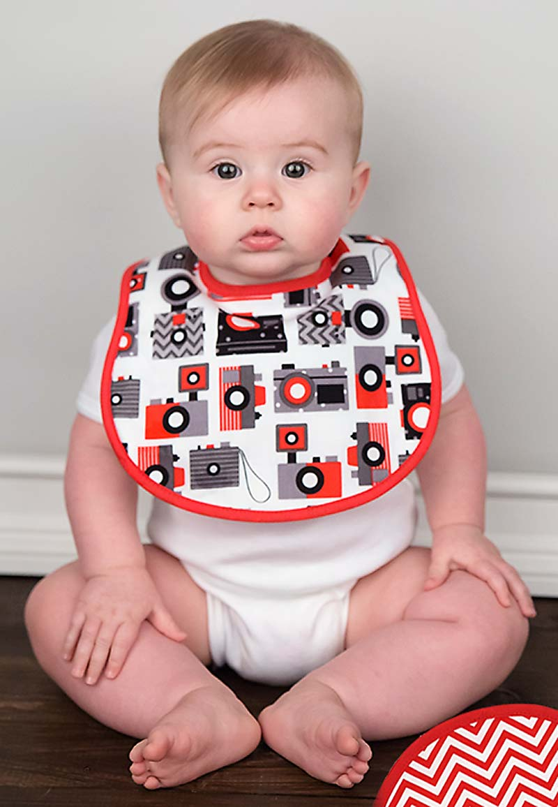 Red Camera Bib & Burp Gift Set