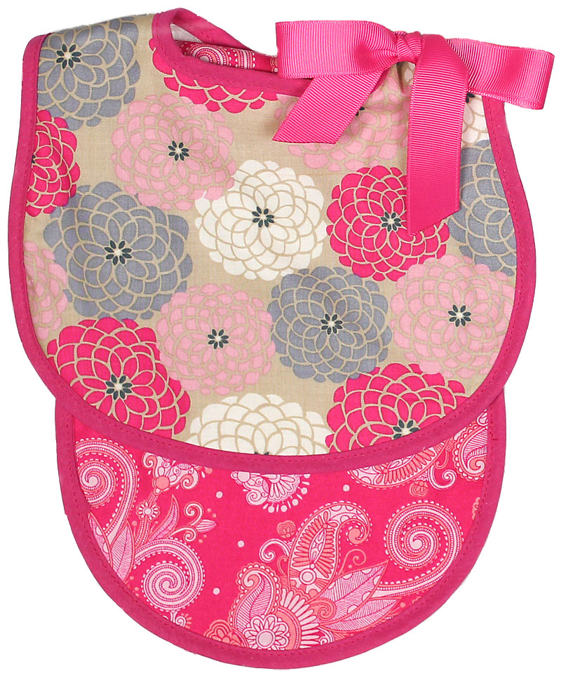 Hot Pink Floral Bib & Burp Gift Set