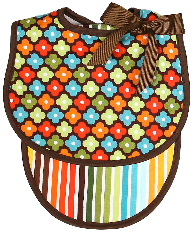 Brown Floral Bib & Burp Gift Set