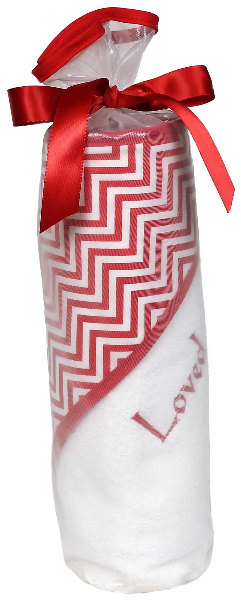 """Loved"" Cherry Chevron Towel Unisex Gift Set"