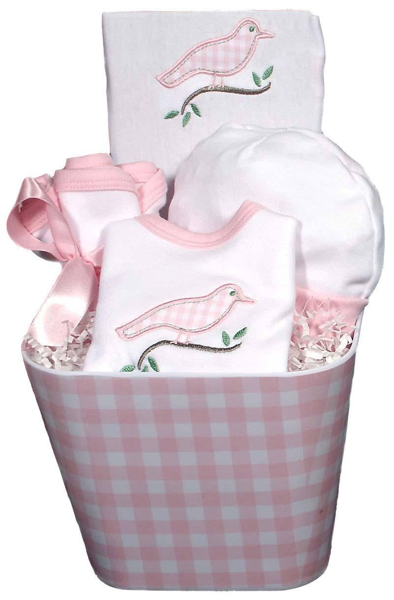 Gingham Bird Baby Accessory Girl Gift Set