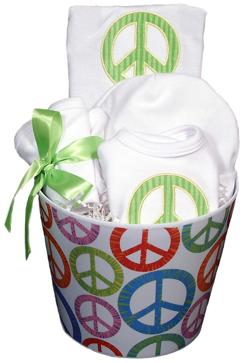 Peace Sign Baby Accessory Unisex Gift Set