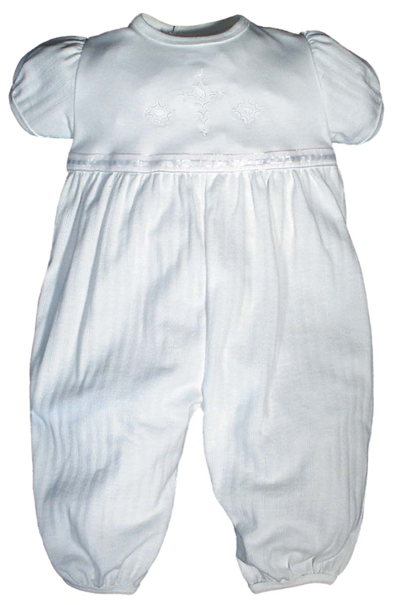 Opal Christening Party Girls Coverall - short sleeve