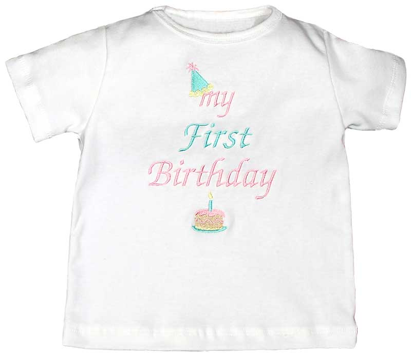 """My First Birthday"" Girl T-Shirt, Pink"
