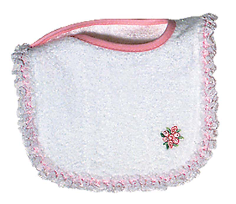 Appliqued White Lace Girl Bib