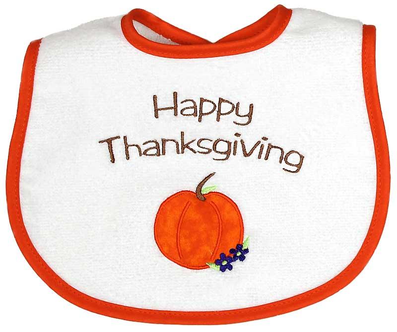 """Happy Thanksgiving"" Appliqued Girl Bib"