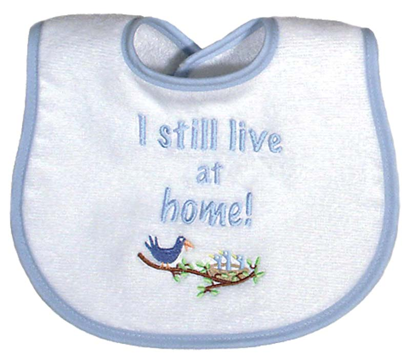 """I still Live at Home"" Boy Bib"