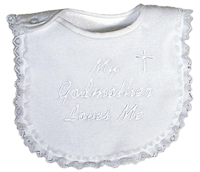 """My Godmother Loves Me"" Girl Bib"