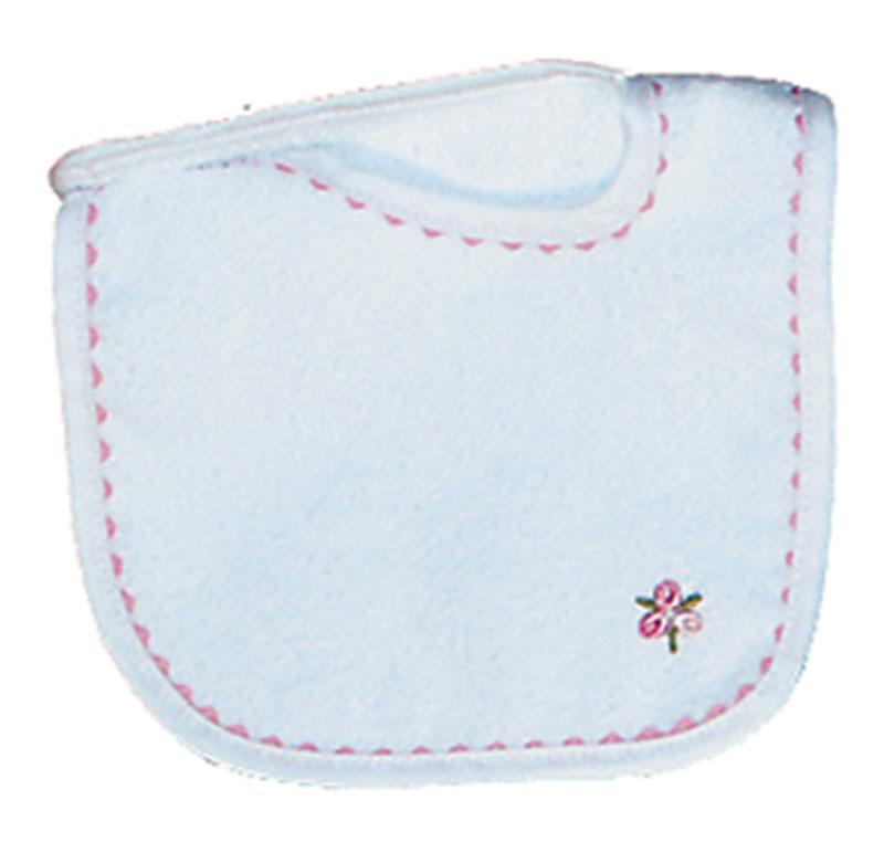Appliqued White Girl Bib